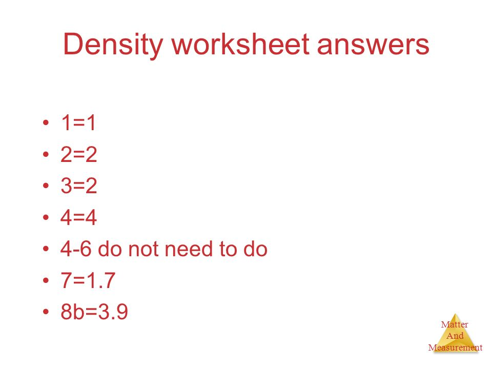 Density worksheet answers