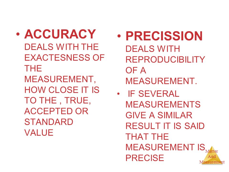 PRECISSION DEALS WITH REPRODUCIBILITY OF A MEASUREMENT.