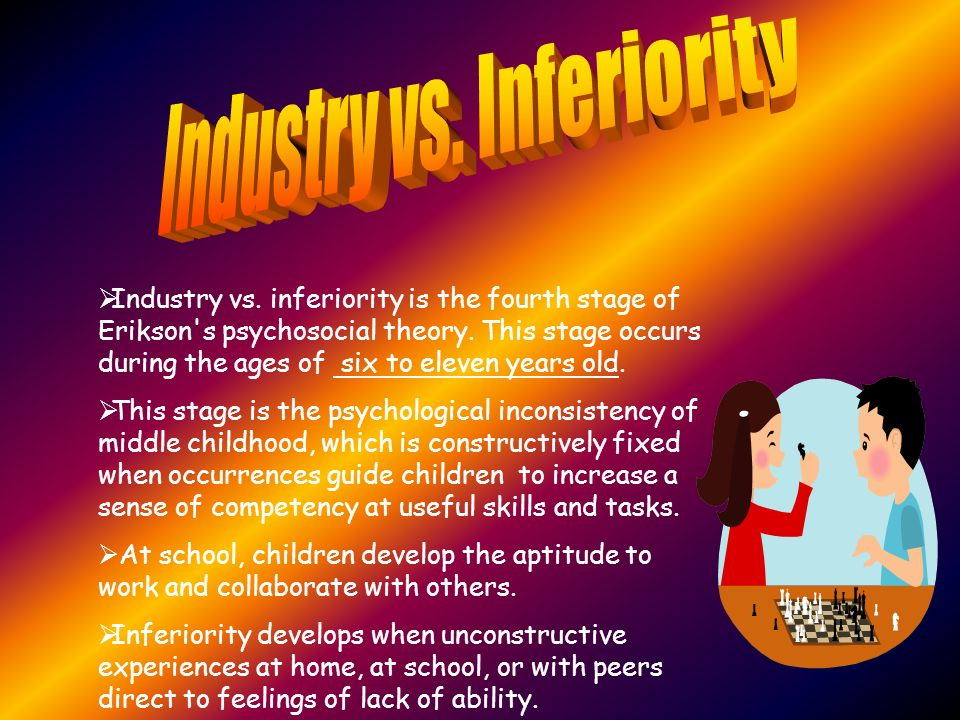 industry vs inferiority Erikson's theories parents may find helpful industry vs inferiority 5 adolescent: industry vs role confusion 6 young adult: intimacy vs isolation 7.