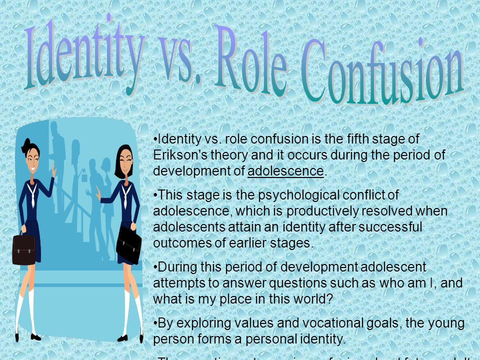 identity vs role confusion Cross-cultural investigation of the validity of erikson's theor y of personality developmen t rhona ochse and cornells plu g identity-formation versus identity-diffusion occurs in adolescence , and for intimacy versu s isolation in early adulthoo d (20-25 years.