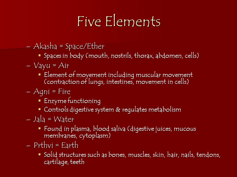 Five Elements Akasha = Space/Ether Vayu = Air Agni = Fire Jala = Water