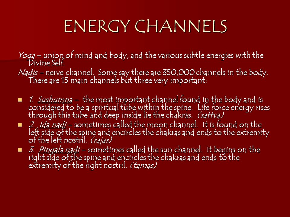ENERGY CHANNELS Yoga – union of mind and body, and the various subtle energies with the Divine Self.