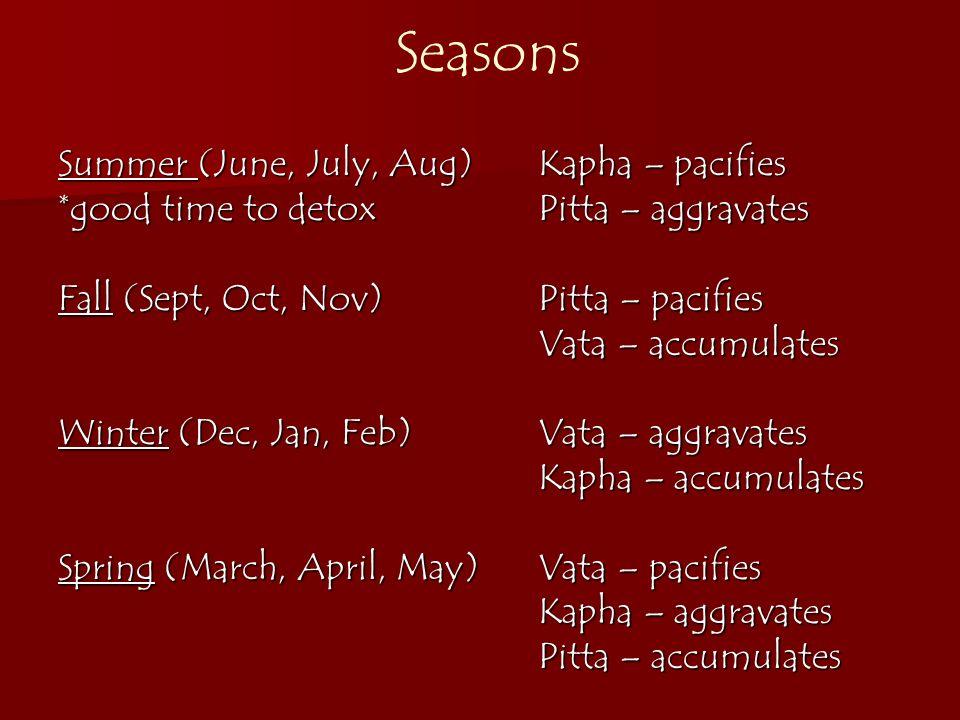 Seasons Summer (June, July, Aug) Kapha – pacifies
