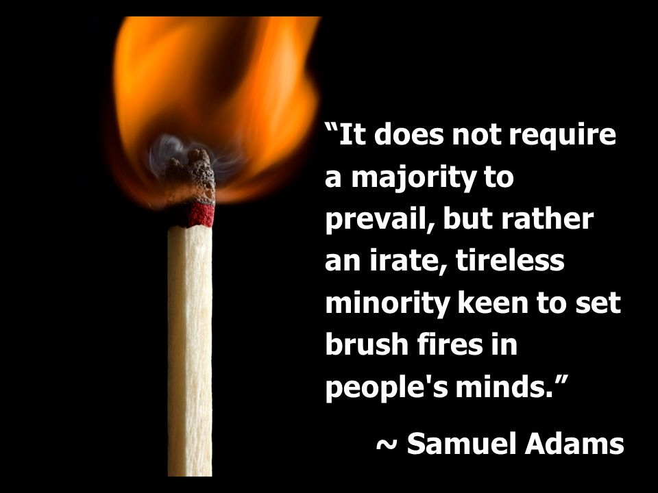 It does not require a majority to prevail, but rather an irate, tireless minority keen to set brush fires in people s minds.