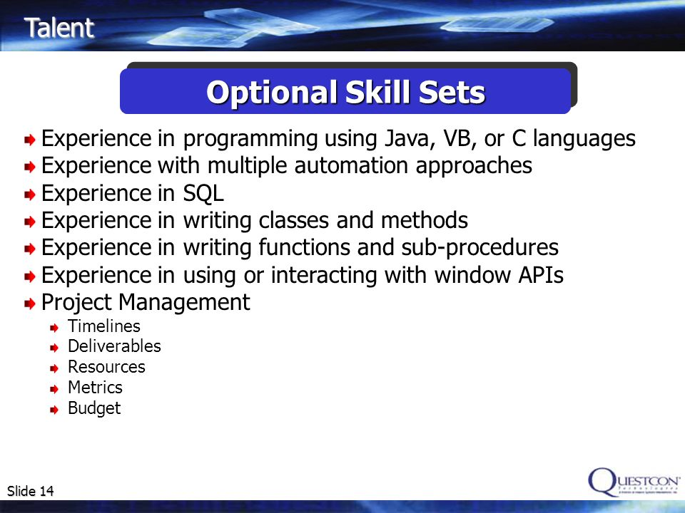 Optional Skill Sets Talent