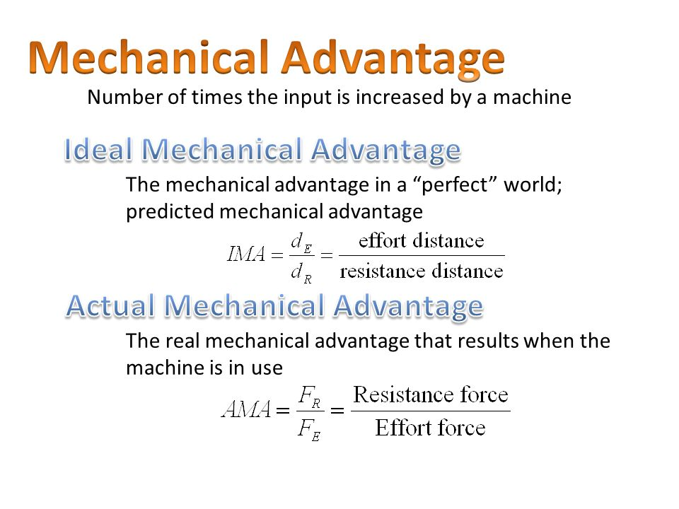 force and mechanical advantage a test Pascal's law and mechanical advantage ----pascal's law allows forces to be multiplied generally, the mechanical test your understanding: 1.