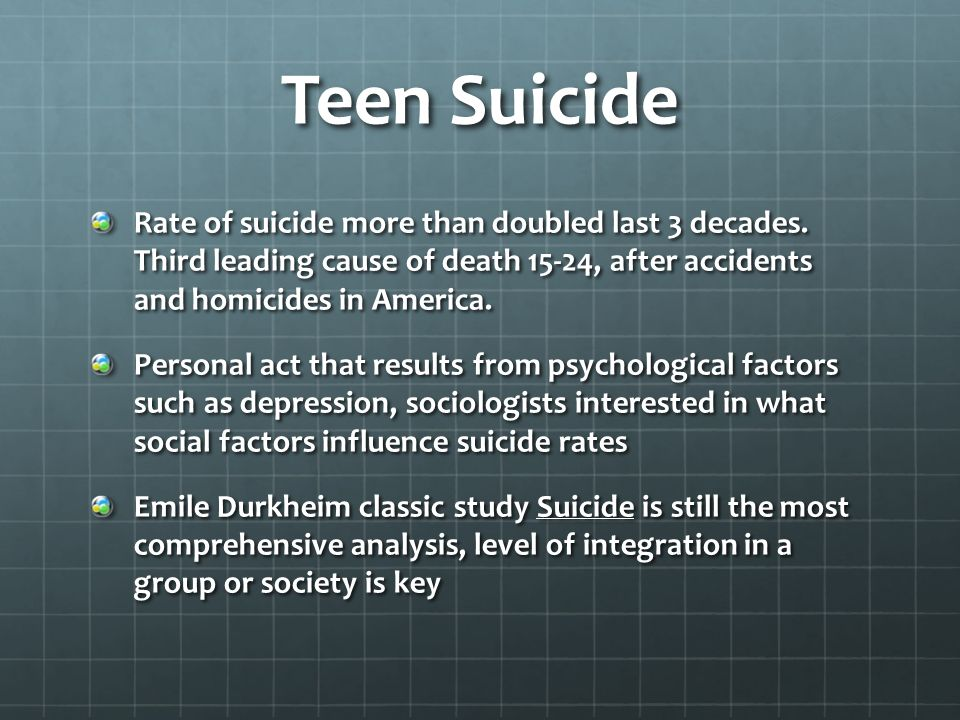 an analysis of the cause and effects of teen suicides  effect is probably smaller than that of other psychosocial risk factors for suicide  [5], it is a significant agent in social  teenagers existed for a specific time period   analysis suicides copycat effect was more likely reported.