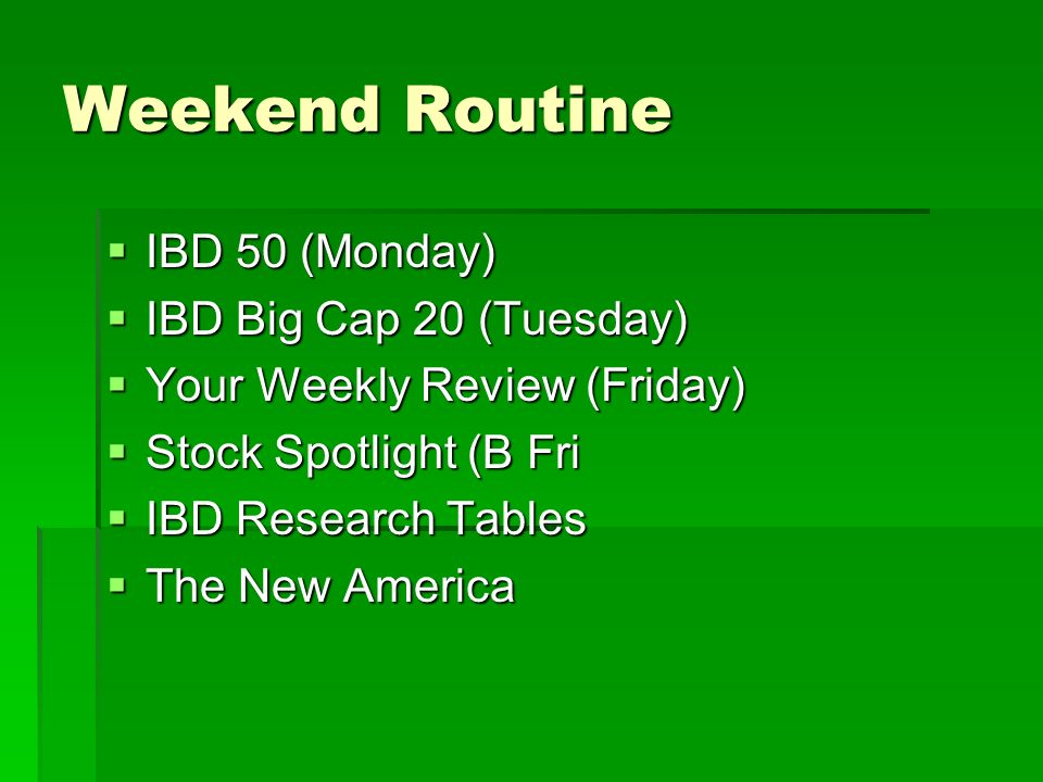 Weekend Routine IBD 50 (Monday) IBD Big Cap 20 (Tuesday)
