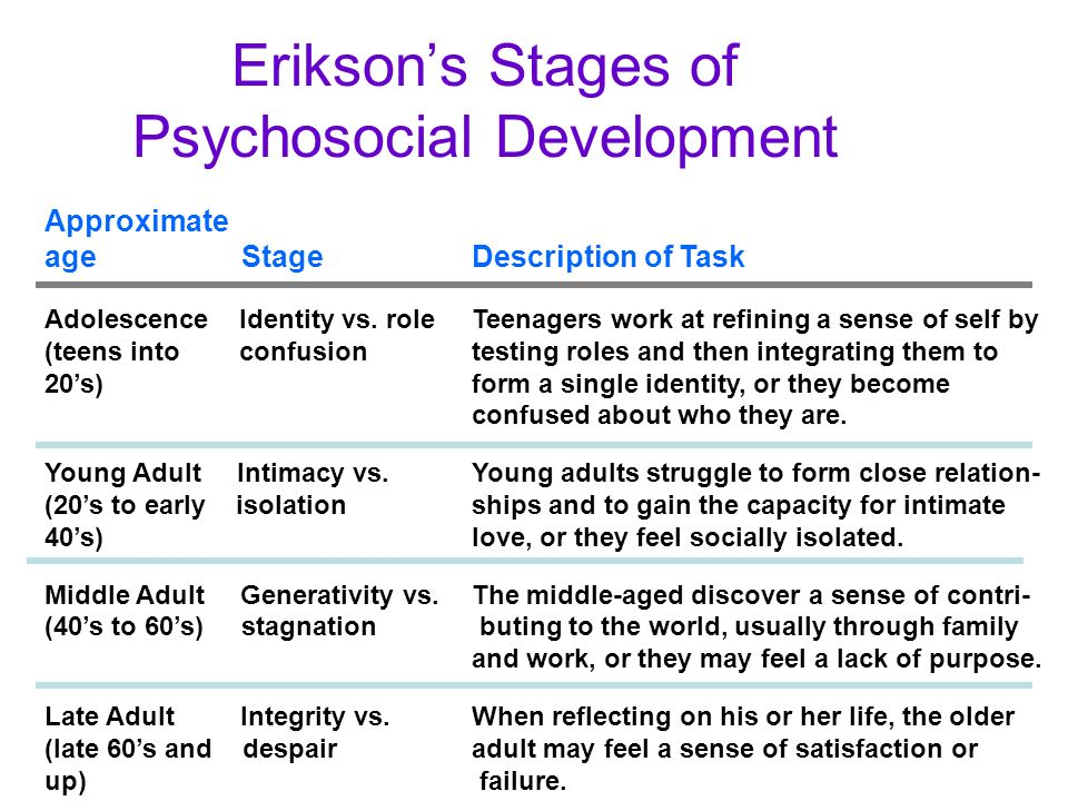 stage Adult development