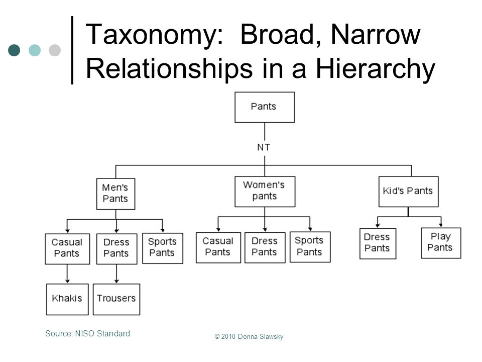 Taxonomy: Broad, Narrow Relationships in a Hierarchy