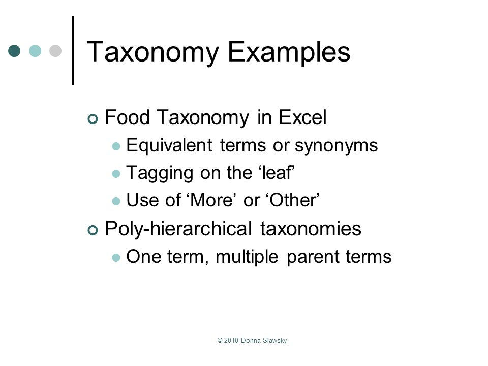 Taxonomy Examples Food Taxonomy in Excel Poly-hierarchical taxonomies