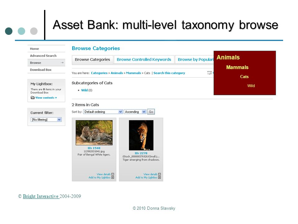 Asset Bank: multi-level taxonomy browse