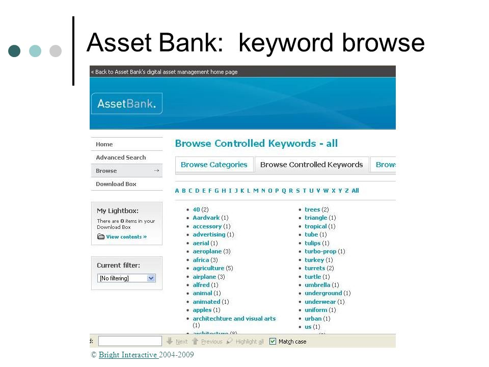 Asset Bank: keyword browse