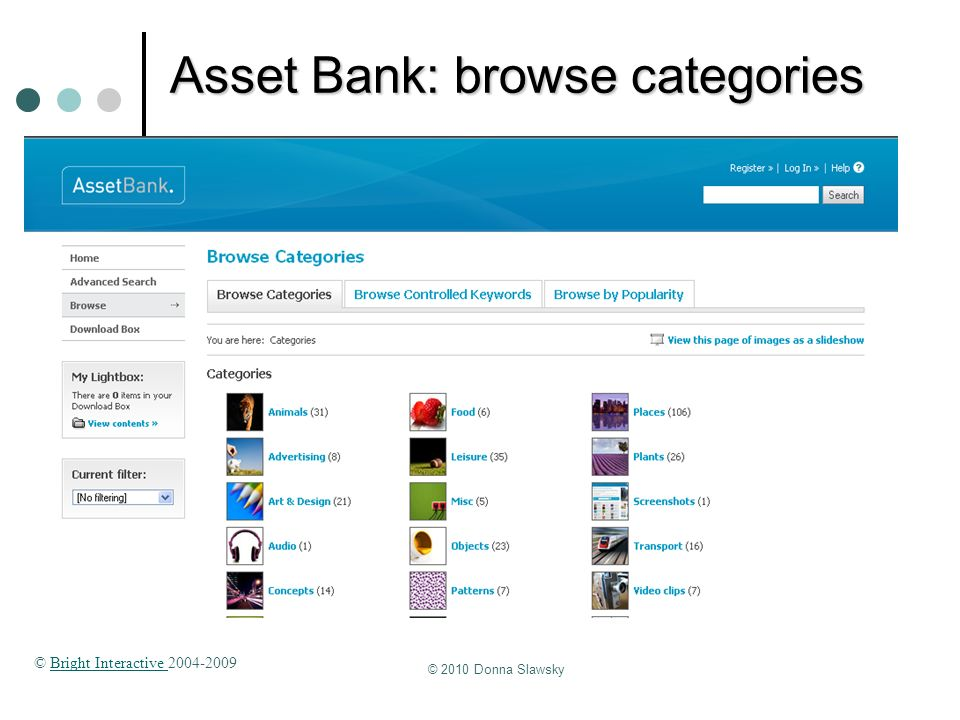 Asset Bank: browse categories