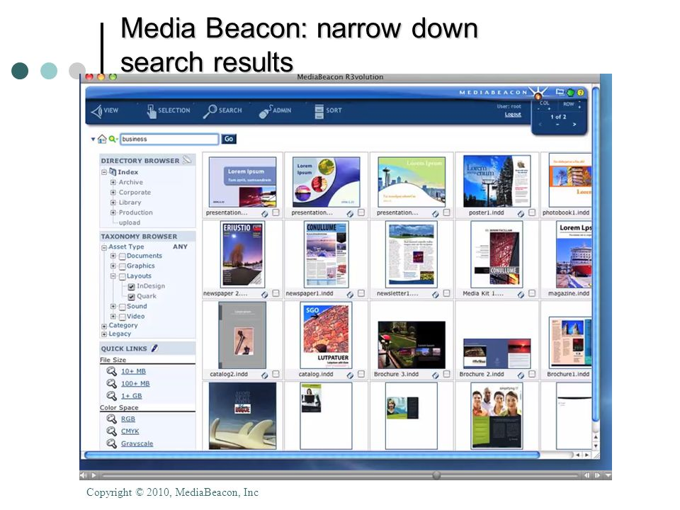 Media Beacon: narrow down search results