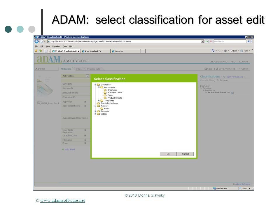 ADAM: select classification for asset edit