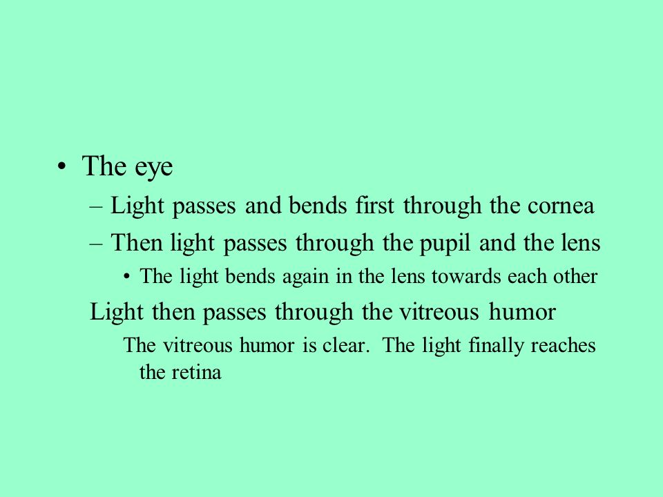 The eye Light passes and bends first through the cornea