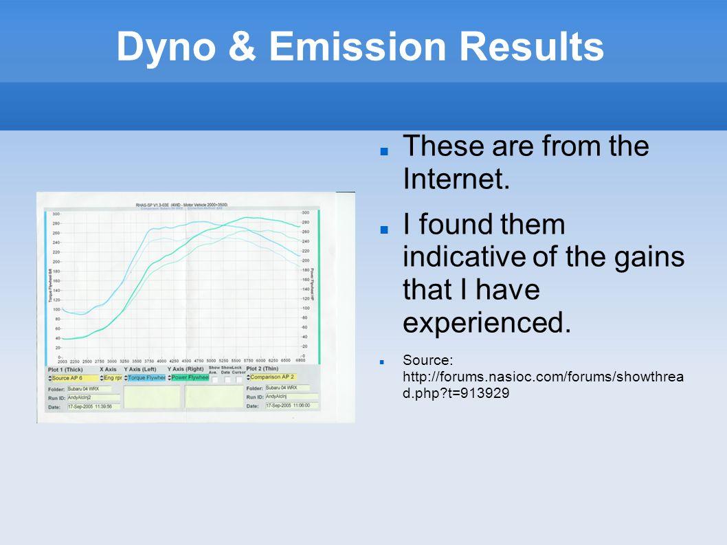 Dyno & Emission Results