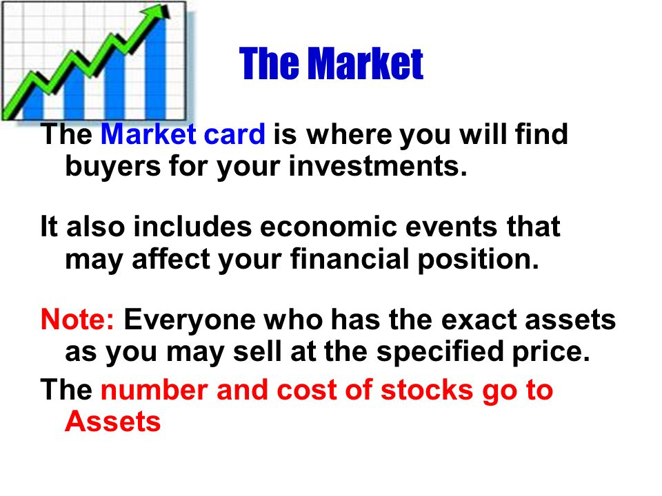The Market The Market card is where you will find buyers for your investments.