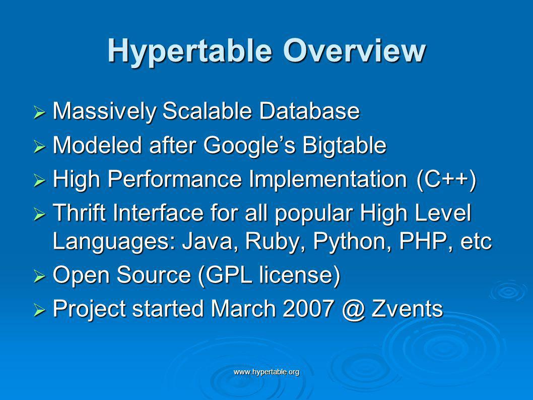 Hypertable Overview Massively Scalable Database