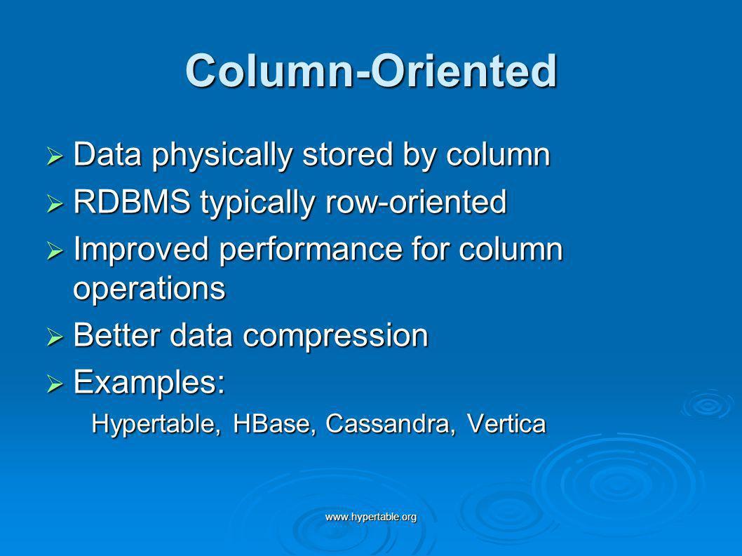 Column-Oriented Data physically stored by column