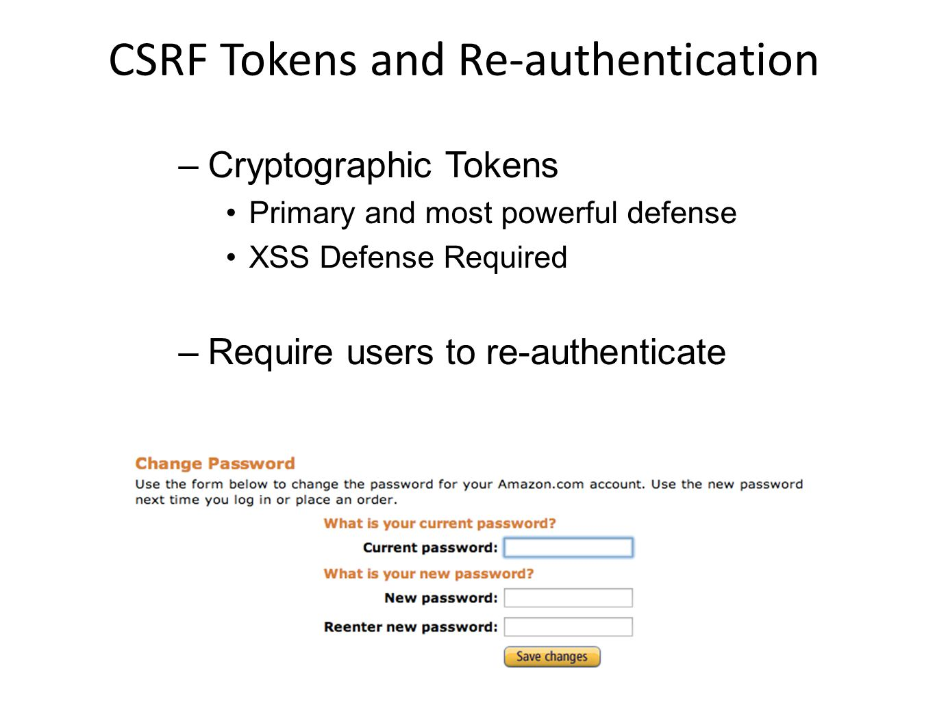 CSRF Tokens and Re-authentication