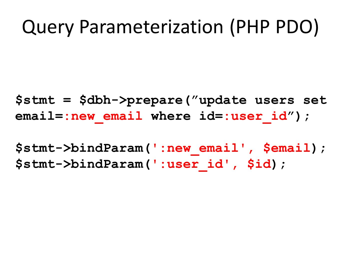 Query Parameterization (PHP PDO)