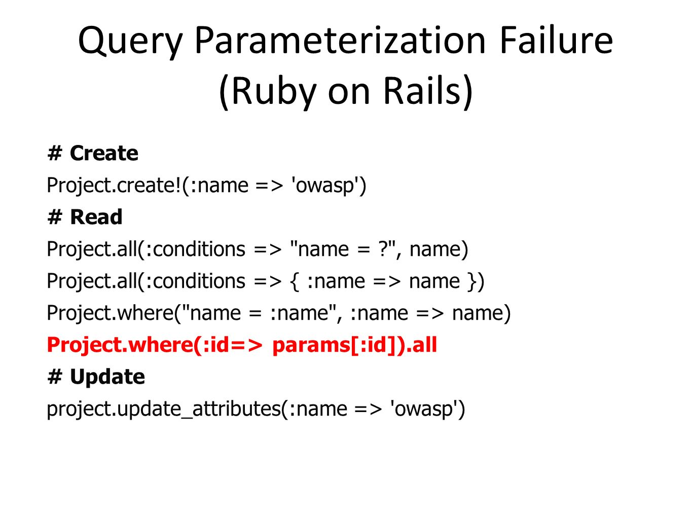 Query Parameterization Failure (Ruby on Rails)