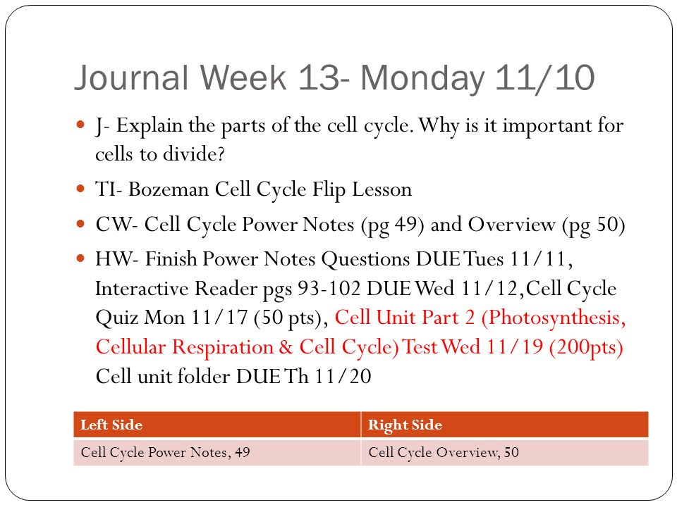 The Cell Cycle: Growth & Division of Body Cells - ppt download