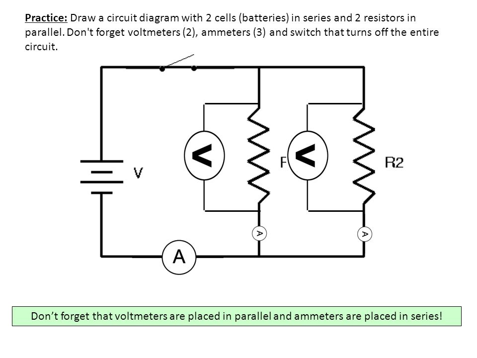 Voltmeter In Parallel : Series circuit diagram with ammeter and voltmeter