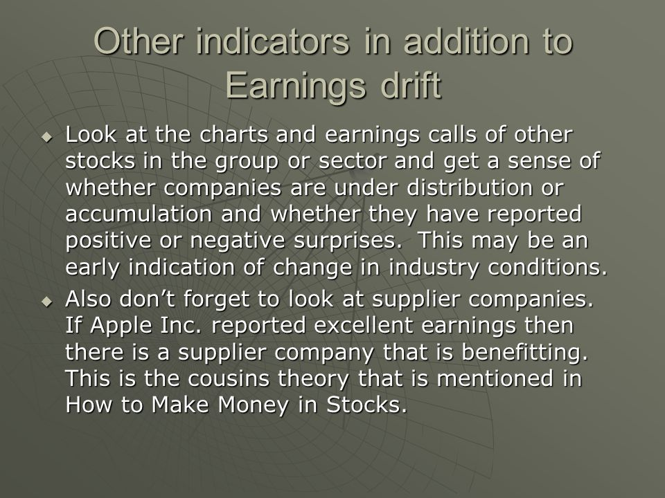 Other indicators in addition to Earnings drift