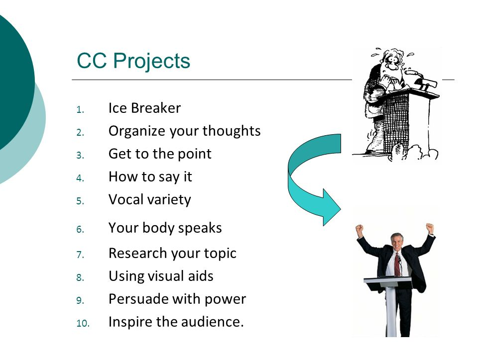 CC Projects Ice Breaker Organize your thoughts Get to the point
