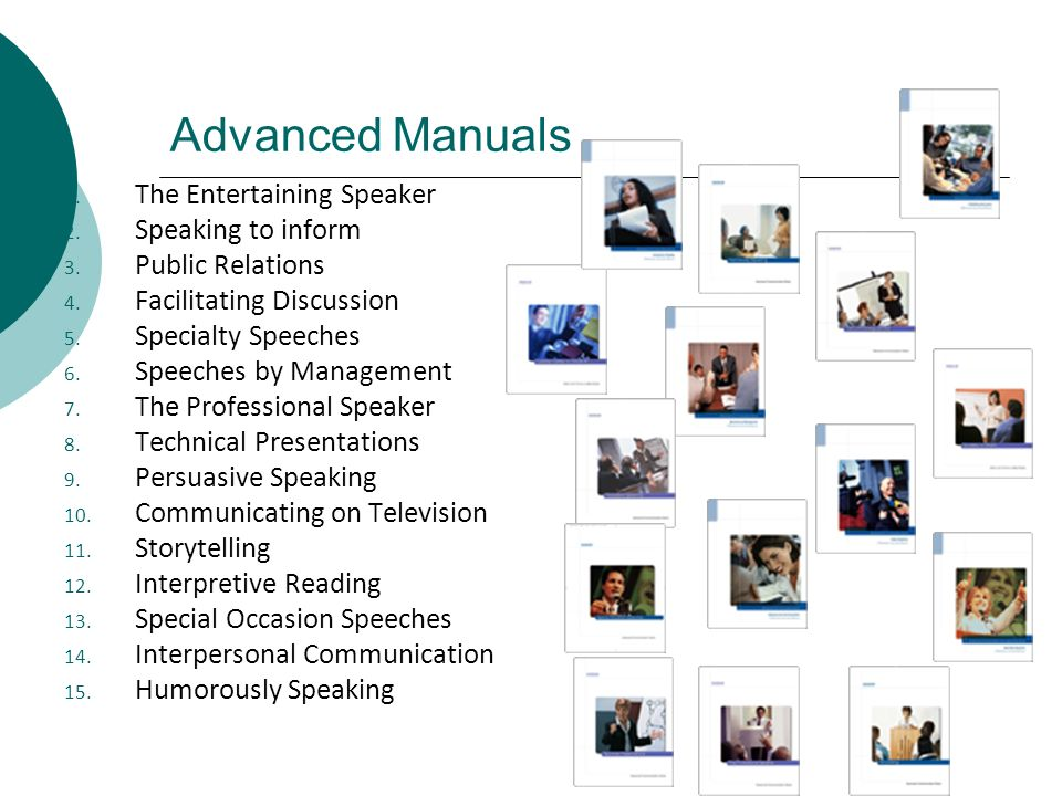 Advanced Manuals The Entertaining Speaker Speaking to inform