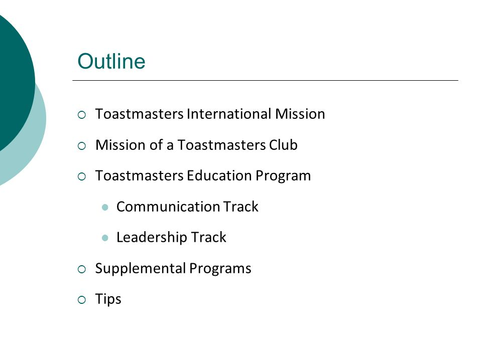 Outline Toastmasters International Mission