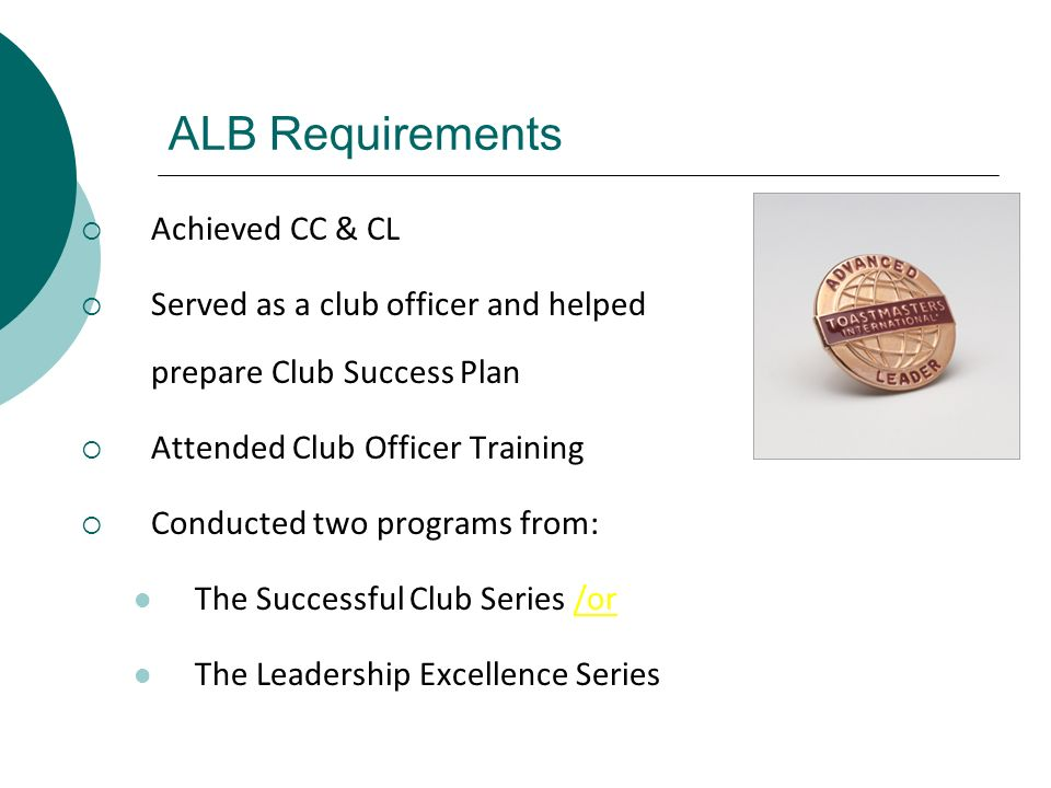 ALB Requirements Achieved CC & CL