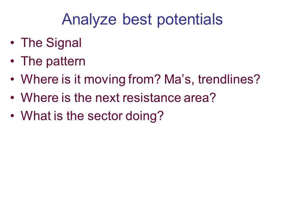 Analyze best potentials