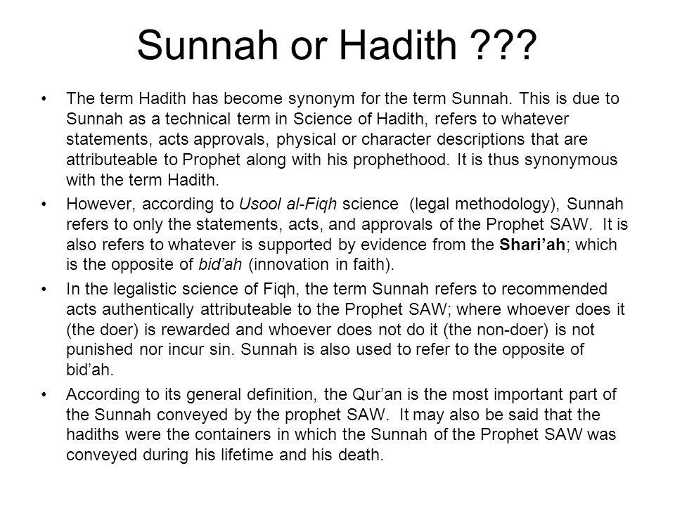 Sunnah or Hadith