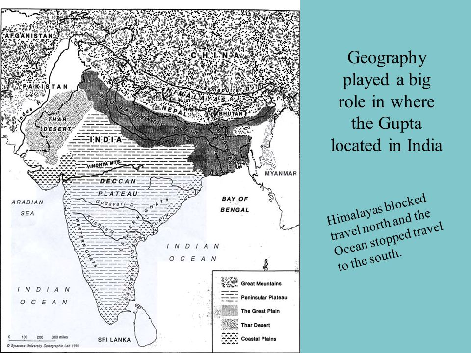 Geography played a big role in where the Gupta located in India