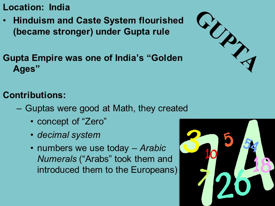 Location: India Hinduism and Caste System flourished (became stronger) under Gupta rule. Gupta Empire was one of India's Golden Ages