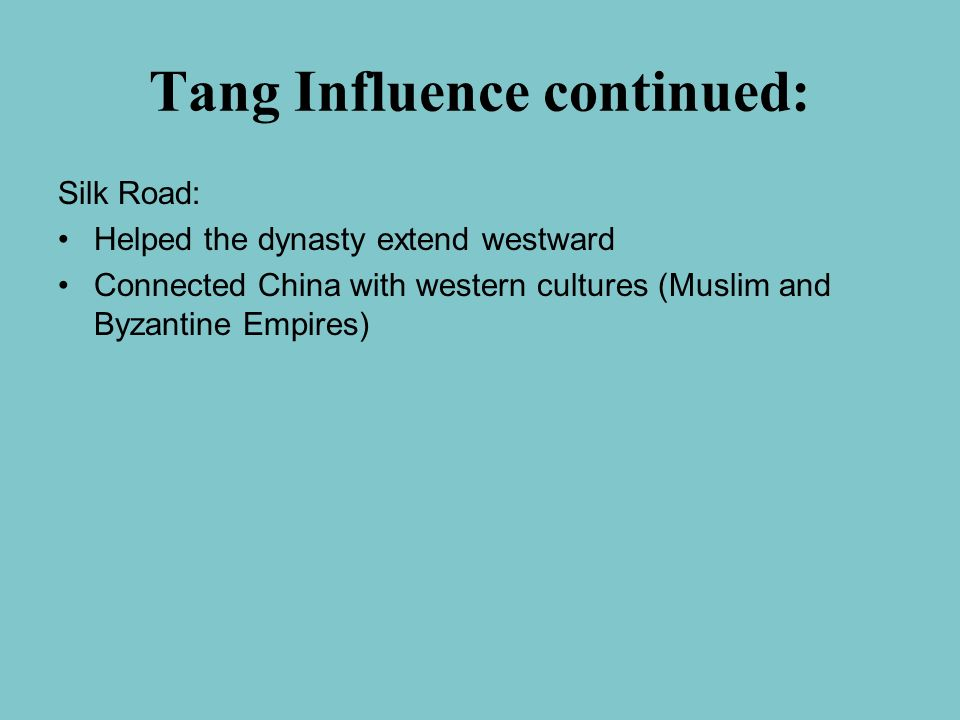 Tang Influence continued: