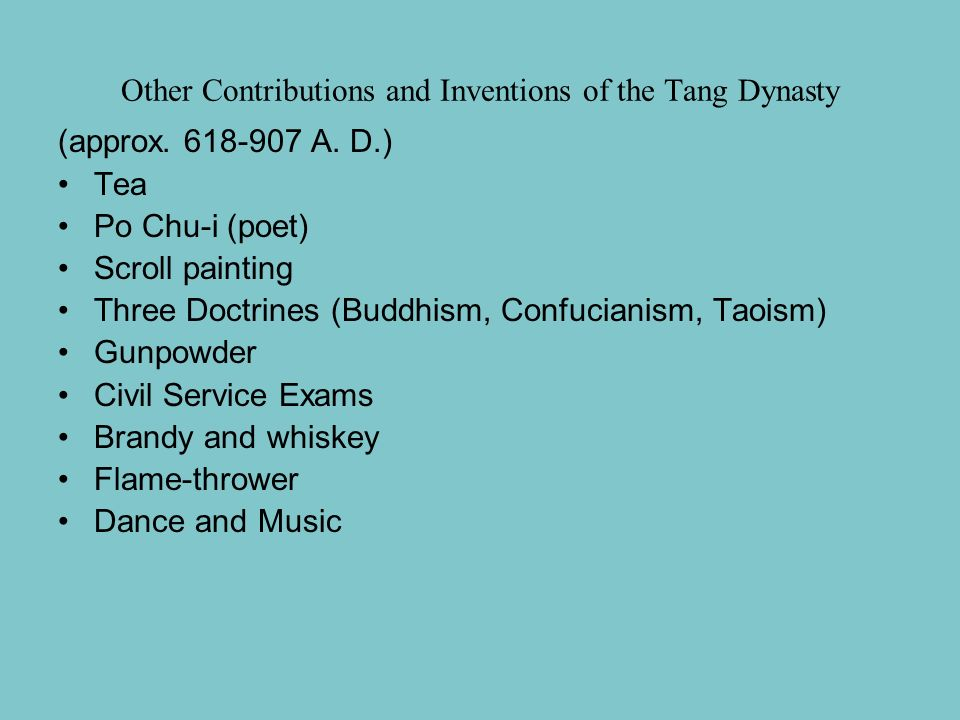 Other Contributions and Inventions of the Tang Dynasty