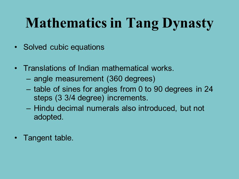 Mathematics in Tang Dynasty