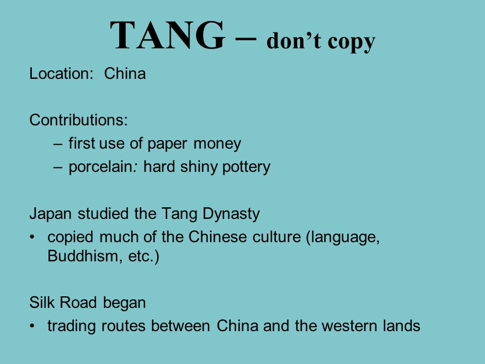 TANG – don't copy Location: China Contributions: