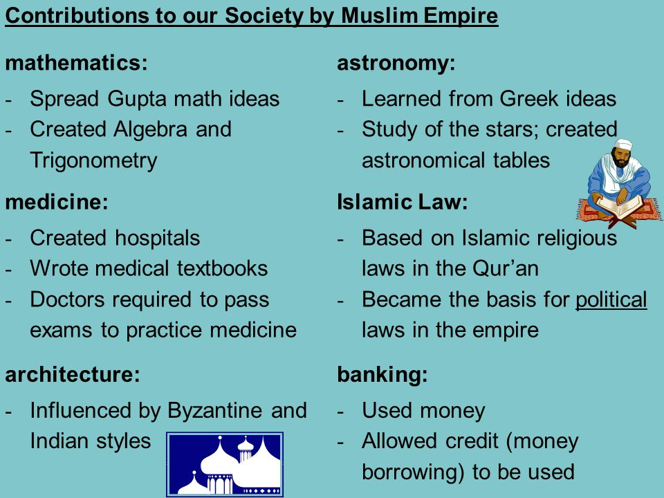Contributions to our Society by Muslim Empire