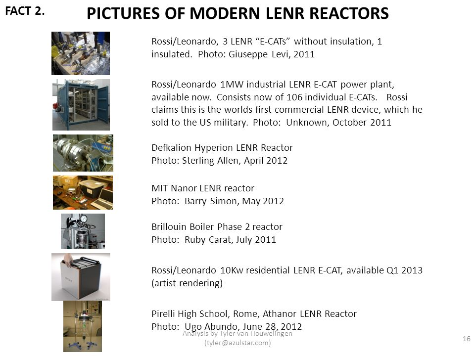 PICTURES OF MODERN LENR REACTORS