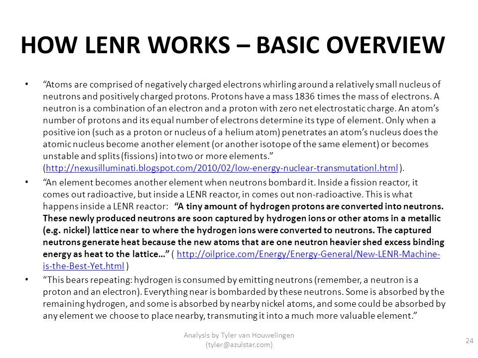 HOW LENR WORKS – BASIC OVERVIEW
