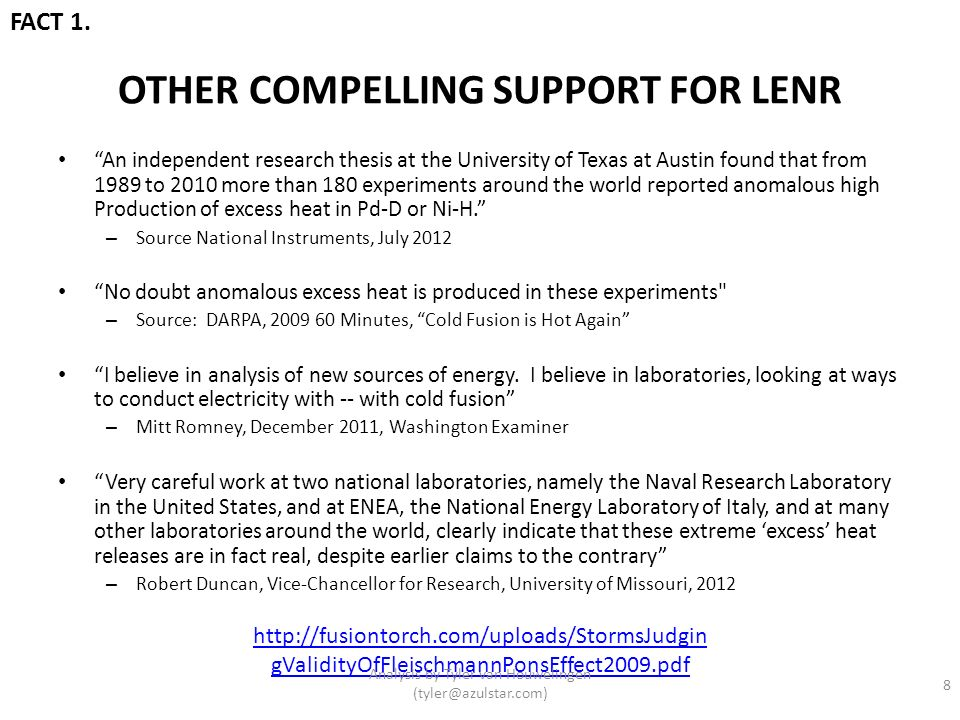 OTHER COMPELLING SUPPORT FOR LENR