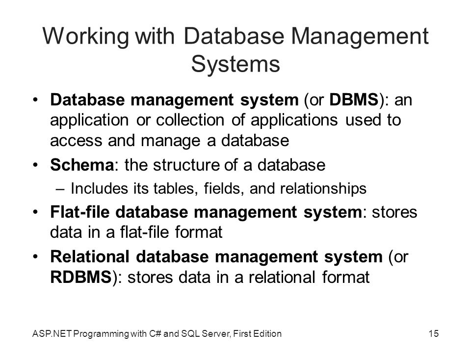 Working with Database Management Systems