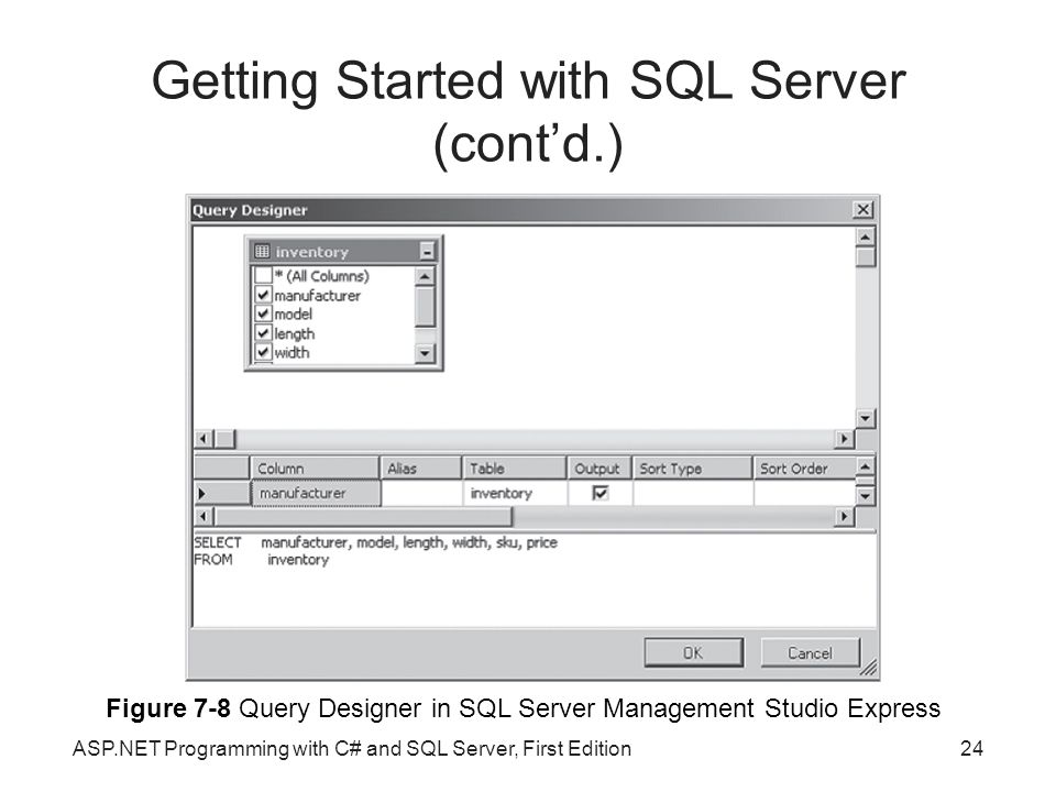 Getting Started with SQL Server (cont'd.)