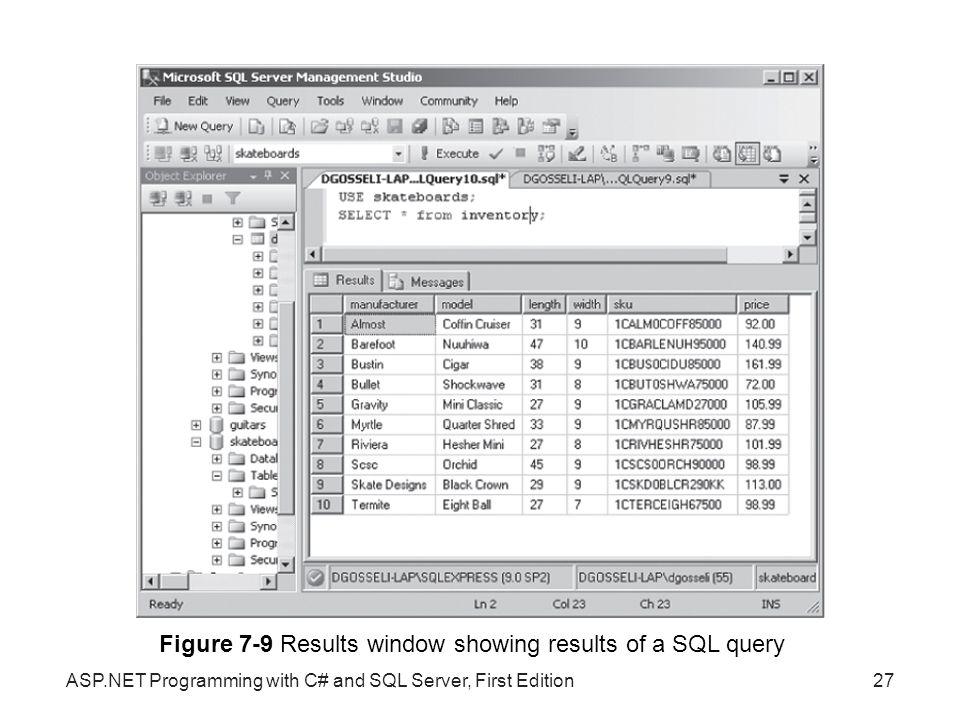 Figure 7-9 Results window showing results of a SQL query